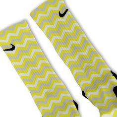Chevron Yellow Customized Nike Elite Socks