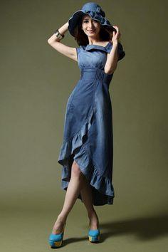 Free Shipping Fashion Inclined Shoulder Slim Dovetail Cowboy --- cute dress
