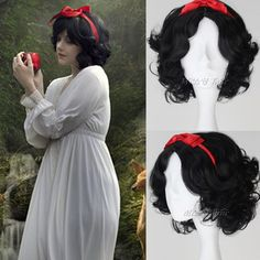 Sexy Black Anime Wig Short Wave Curly Weave Hair+ Red Headband Cosplay Party New #New #FullWig