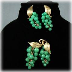 Vintage Glass Bead Grape Gold Tone Earrings Brooch Set from Junkbox Treasures on RUby Lane