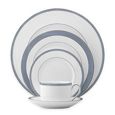 Bring the sophistication of simplicity to your table with Vera Wang Wegdwood's Grosgrain Indigo Collection place setting featuring a sleek line and dot motif in bone china for fine dining with timeless style. Fine China Dinnerware, Square Dinnerware Set, Dinnerware Sets, Fine China Patterns, China Sets, Wedgwood, Vera Wang, Bone China, Grosgrain