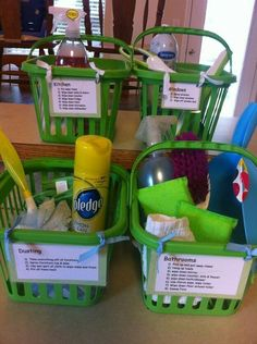 Create baskets for each room. In each basket, include all the cleaning supplies needed along with a chore list attached to the front.