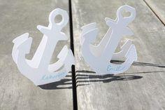 Hochzeitsdeko - Tischkarten weiß / wirf den Anker / Hochzeit - ein Designerstück von jippiebird bei DaWanda