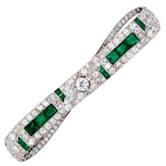 art deco brooches and pins | Art Deco Diamond Emerald & Platinum Pin Brooch
