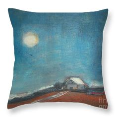Barn At Moon Light Throw Pillow for Sale by Vesna Antic
