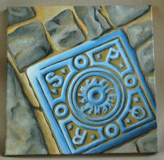 """SPQR Roman Manhole Cover (#2 in the Grateness of Rome Series) Original Acrylic Painting 12"""" x 12"""" by dragonbee on Etsy"""