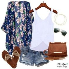 Frugal Fashion Friday Fourth of July Outfit, Beach Outfits, Cardigan Boho Outfit - Elegant Fashion Style. Boho Outfits, Summer Shorts Outfits, Casual Outfits, Cute Outfits, Casual Shorts, Dress Outfits, Denim Shorts, Summer Cruise Outfits, Summer Outfits Women Over 40