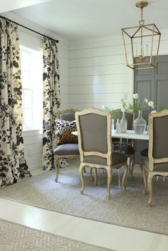Dining Room Drapes in Schumacher Pyne Hollyhock Print Charcoal
