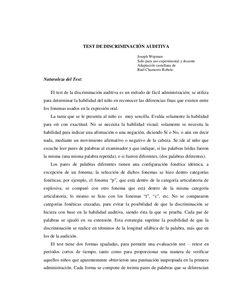 TEST DE DISCRIMINACIÓN AUDITIVA Joseph Wepman Solo para uso experimental y docente Adaptación castellana de Raúl Chamorro Robelo Naturaleza del Test: El test d…
