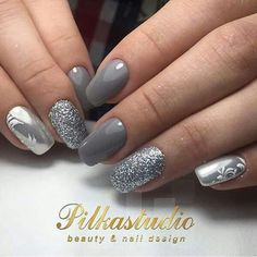 Silver nail designs 3 4 1 n 2 nu manicure and makeup black for prom . silver nail designs easy blue and 2017 black . Silver Nail Designs, Manicure Nail Designs, New Nail Designs, Manicure And Pedicure, Nails Design, Design Design, Fabulous Nails, Perfect Nails, Crome Nails