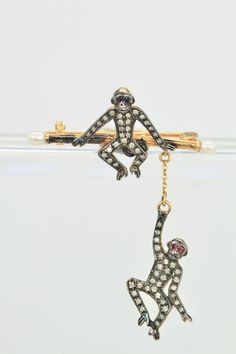 Antique Double Monkey Brooch 14K Blackened Gold 1900 Monkey, Brooch, Trending Outfits, Antiques, Unique Jewelry, Bracelets, Handmade Gifts, Gold, Vintage