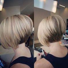 Pretty Short Stacked Bob Haircut with Straight Hair