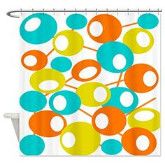 CafePress - mid century Modern Circles 1 QUEEN Shower Cur...
