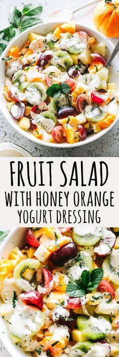 Easy Fruit Salad with Honey Orange Yogurt Dressing Recipe – A fabulous and healthy fruit salad featuring a rainbow of your favorite tropical fruits tossed with a wonderfully sweet and creamy yogurt dressing. #fruitsalad #mothersday #healthydesserts