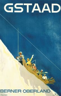 vintage ski poster. DIGGELMANN, ALEX WALTER (1902-1987)   GSTAAD   lithograph in colours, 1938