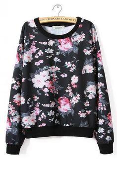 KCLOT Pull Over Black Floral Winter Sweatshirt
