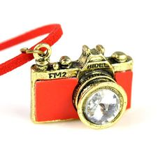 Favorite Fashion Red Leather Cord Red Camera Pendant Necklace