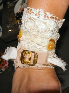 Items similar to Wedding Bracelet Cuff Wedding Jewelry LACY LYDIA Victorian Romantic Lace Cuff Shabby Chic Bracelet on Etsy Fabric Bracelets, Cuff Bracelets, Fabric Artwork, Lace Cuffs, Romantic Lace, Upcycled Clothing, Shabby Chic, Objects, Fabrics