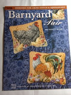 Leisure Arts Barnyard Pair Cross Stitch Leaflet Pattern Chickens Rooster Barn  #LeisureArts