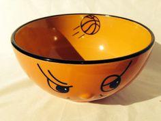 "Ceramic Orange/Black Basketball Bowl 6"" W x 3.5"" H Cereal Soup Kitchen"