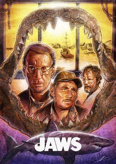 My Jaws tribute movie poster design Jaws Film, Jaws Movie Poster, Old Movies, Great Movies, Perfect Movie, Classic Horror Movies, Alternative Movie Posters, Hai, Cultura Pop