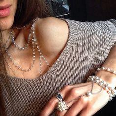Russian jewelry designer Mira Solnyshko. Czech jewellery glass adornment (90 $US) and majorica pearl bracelet-slave (75 $US).