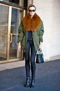 D.I.Y. fans, get inspired for your next project: A fur-trimmed parka #streetstyle