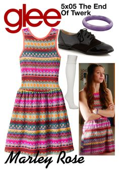 """Marley Rose (Glee) : 5x05"" by aure26 ❤ liked on Polyvore featuring Falke, Red Herring and glee"