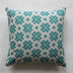 Patterned Linen Cushion Cover  43 x43cm  Also avail in yellow and grey