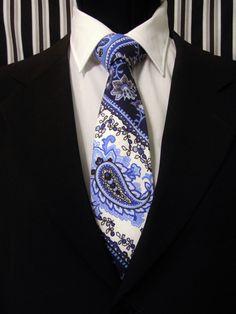 Paisley Necktie, Paisley Tie, Mens Necktie, Mens Tie, Blue Necktie, Blue Tie, Blue Paisley Tie, Navy Necktie, Navy Tie, Stripe Necktie, Dad by EdsNeckties on Etsy