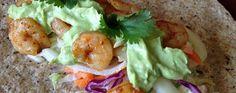 Shrimp Tacos with Avocado Cream