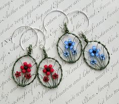 Flower earrings (commission) by Louise Goodchild, via Flickr