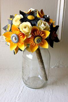 Paper Flower Bouquet Wedding Yellow Grey by TheLittleRedButton