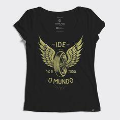 Camiseta evangélica feminina de algodão com estampa contextualizada sobre o Ide e pregai o evangelho. Enviamos para todo o Brasil e parcelamos no cartão.