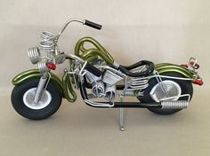 Wire Motorcycle Wire and Rubber Art Collectible by DotnBettys