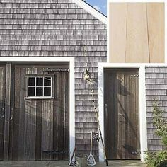 """Get the Gray without the Decay"" – with Cabot Stain Bleaching Oil, you canaccelerate the weathering process while protecting the wood from harmful mold. Exterior Stain, Grey Exterior, Cottage Exterior, Exterior House Colors, Exterior Design, Cedar Shingle Siding, Cedar Shake Siding, Cedar Shingles, Wood Siding"