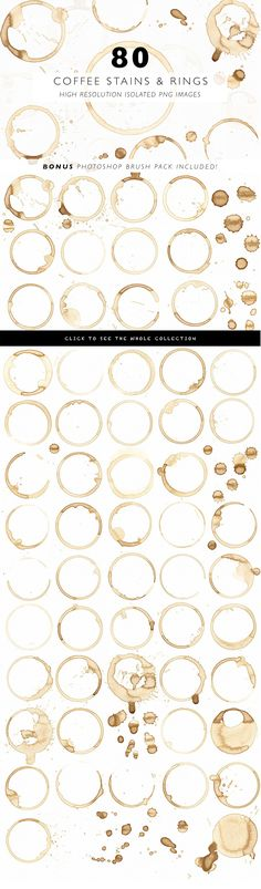 Instantly add an element of realism to your digital work with this high-quality pack of 80 coffee stains, rings, and splatters. As with all of my products, every measure was taken to ensure that the quality of these isolated coffee stains (and bonus brushes!) remained at their highest throughout every stage. Starting with a 1200dpi scan and individually edited.