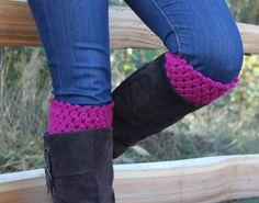 Crochet Boot Cuffs Leg Warmers Boot Socks Magenta