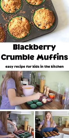 An easy and tasty recipe to cook with kids in fall for some delicious blackberry muffins with a crumble topping. Blackberry And Apple Crumble, Blackberry Muffin, Blackberry Recipes, Top Recipes, Muffin Recipes, Fall Recipes, Cooking Recipes, Easy Meals For Kids, Kids Meals