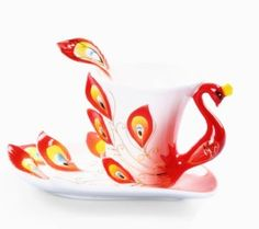 Moyishi Hand Crafted Porcelain Enamel Delicate Peacock Tea Coffee Cup Set with Saucer and Spoon Red >>> More info could be found at the image url. (This is an affiliate link and I receive a commission for the sales)