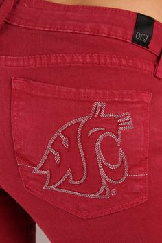 Washington State Cougars Branded Skinny Jeans in Crimson Washington State University, Football Season, Jeans Brands, Skinny Jeans, Clothes For Women, Lighting Ideas, My Style, Cheer, Quilt