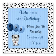 Childs 5th Birthday Party Invitation Blue