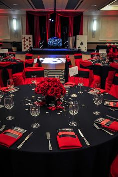 Casino royale after prom or project graduation party's. by Vegas Concepts. Call … Casino royale after prom or project graduation party's. by Vegas Concepts. Call us today for your free quote or visit www.vegasconcepts… - Add Modern To Your Lif Spanish Party Decorations, Red Party Themes, Casino Party Decorations, Casino Theme Parties, Hollywood Birthday Parties, 18th Birthday Party Ideas Decoration, Casino Themed Centerpieces, Red Table Decorations, Royal Theme Party