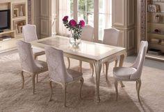 Source Eden Dining Table by Gold Confort Luxury Dining Tables, Luxury Dining Room, Modern Dining Chairs, Dining Room Design, Upholstered Furniture, Dining Room Furniture, Dining Room Table, A Table, Neoclassical Interior