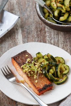NYT Cooking: Salty-Sweet Salmon with Spicy Cucumbers