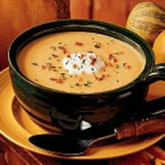 Creamy Pumpkin Soup Recipe- Recipes I love gardening and have a big pumpkin patch. A few years ago when our harvest was very plentiful, I experimented and came up with this recipe. My family just loves this soup. Pumpkin Recipes, Fall Recipes, Soup Recipes, Cooking Recipes, Pumpkin Bisque, Creamy Pumpkin Soup, Canned Pumpkin, Smoked Gouda, Soup And Salad