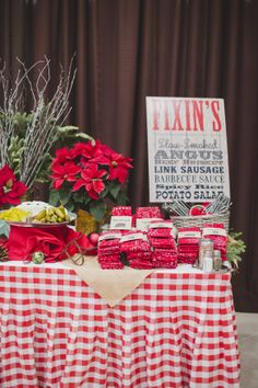 www.occasioproductions.com   Honky Tonk Christmas Party Buffet Menu  Photo by: http://michelleablephotography.com/