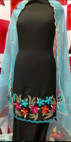 Embroidery Suits Punjabi, Hand Embroidery Dress, Embroidery Suits Design, Embroidery Fashion, Embroidery Designs, Punjabi Suits Designer Boutique, Boutique Suits, Dress Neck Designs, Blouse Designs