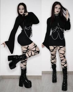 Cos Fashion, Kawaii Fashion, Gothic Fashion, Gothic Outfits, Edgy Outfits, Cool Outfits, Alternative Fashion, Alternative Style, Casual Goth