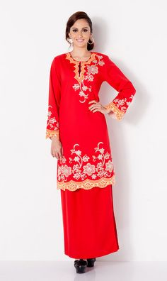 First Lady Cotton Beaded embroidery modern baju kurung